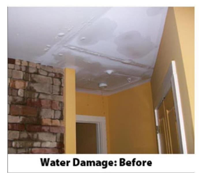 Water damage to ceiling and walls